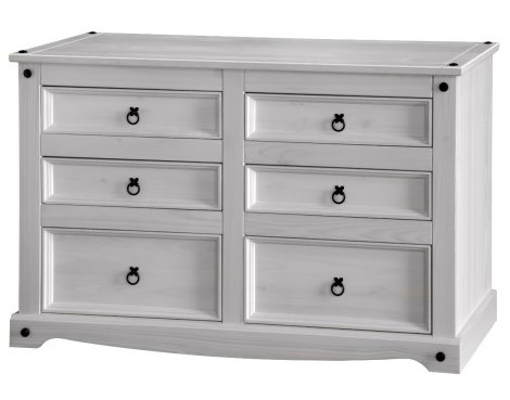 Core Products Corona White Washed CRW513 3+3 Wide Chest of Drawers
