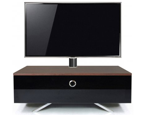 MDA Designs Cubic Hybrid Complete Walnut and Black Cantilever TV Stand