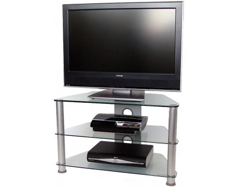 3 Shelf TV stand with Clear UV bonded glass tops
