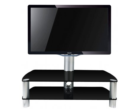 B GRADE/Box slightly damaged Stil Stand 2053CHBL Glass TV stand with swivel