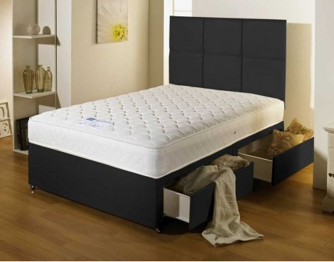 Luxan Serenity Black 2 Drawers with Headboard 3\'0 Divan
