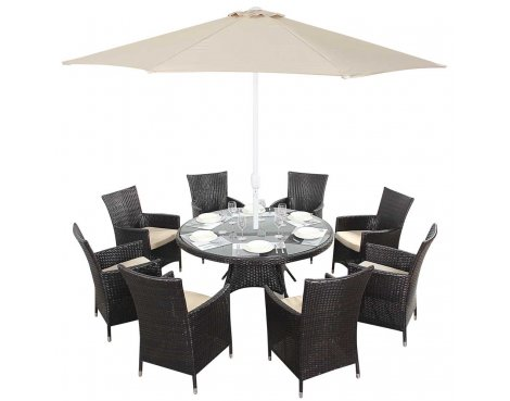 Luxan WGF-109 Port Royal Luxe Round Dining Set - Seats 8