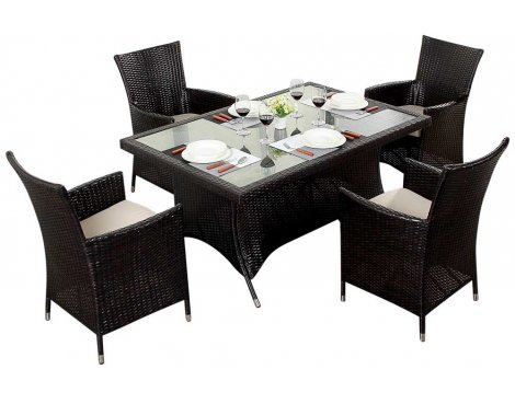 Luxan WGF-110 Port Royal Luxe Rectangle Dining Set - Seats 4