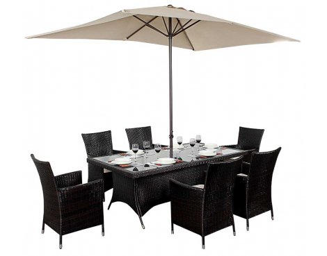 Luxan WGF-112 Port Royal Luxe Rectangle Dining Set - Seats 6