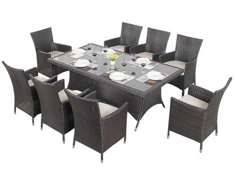 Luxan WGF-113 Port Royal Luxe Rectangle Dining Set - Seats 8