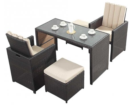Luxan WGF-117 Port Royal Luxe Cube Table & Chairs - Seats 2