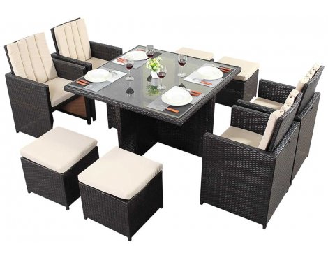 Luxan WGF-118 Port Royal Luxe Cube Table & Chairs - Seats 4