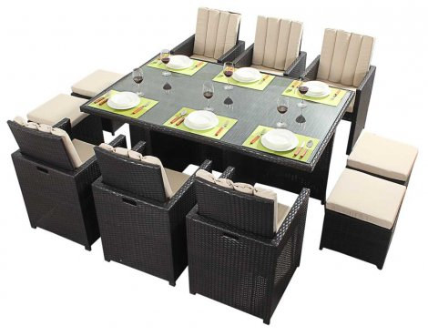 Luxan WGF-119 Port Royal Luxe Cube Table & Chairs - Seats 6