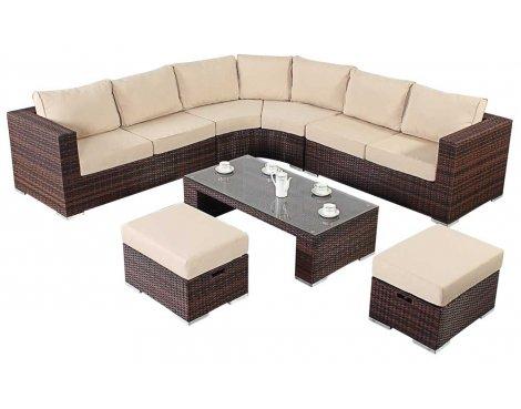 Luxan WGF-203 Port Royal Prestige Brown Round Corner Sofa