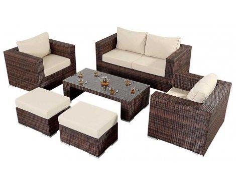 Luxan WGF-205 Port Royal Prestige Brown Small Sofa Set