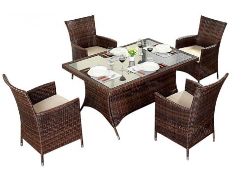 Luxan WGF-210 Port Royal Prestige Brown Rectangle Dining Set - Seats 4
