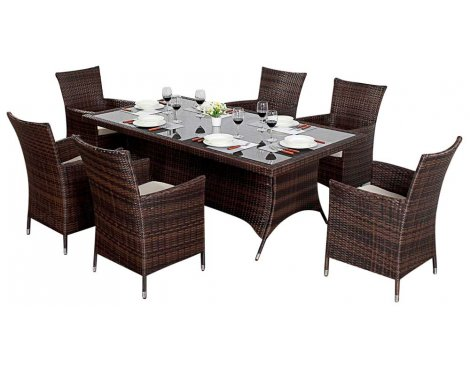 Luxan WGF-212 Port Royal Prestige Brown Rectangle Dining Set - Seats 6
