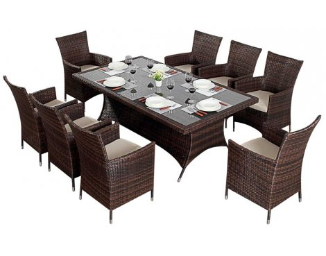 Luxan WGF-213 Port Royal Prestige Brown Rectangle Dining Set - Seats 8