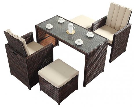 Luxan WGF-217 Port Royal Prestige Brown Cube Table & Chairs - Seats 2