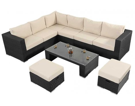 Luxan WGF-302 Port Royal Prestige Black Large Corner Sofa