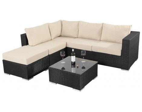 Luxan WGF-301 Port Royal Prestige Black Small Corner Sofa