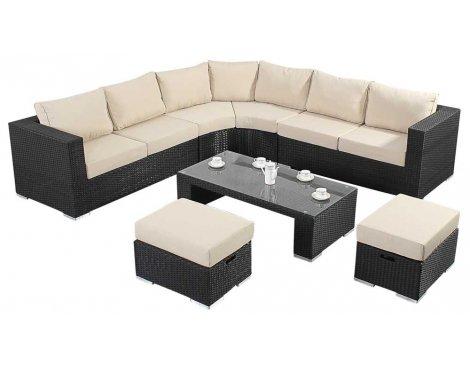 Luxan WGF-303 Port Royal Prestige Black Round Corner Sofa