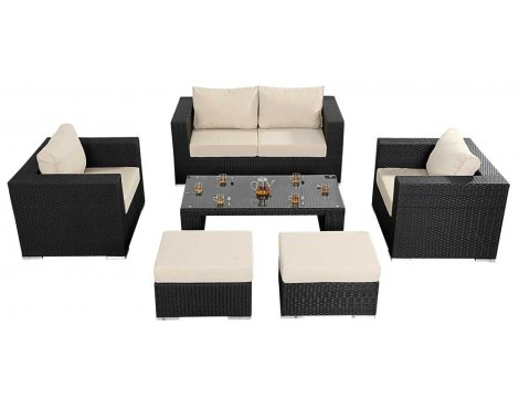 Luxan WGF-305 Port Royal Prestige Black Small Sofa Set
