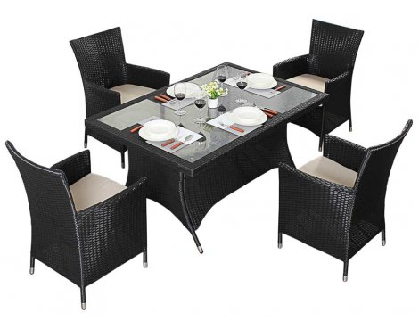 Luxan WGF-310 Port Royal Prestige Black Rectangle Dining Set - Seats 4