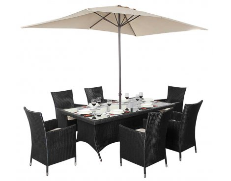 Luxan WGF-312 Port Royal Prestige Black Rectangle Dining Set - Seats 6
