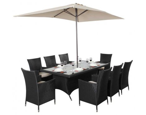 Luxan WGF-313 Port Royal Prestige Black Rectangle Dining Set - Seats 8