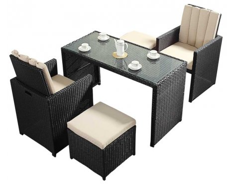 Luxan WGF-317 Port Royal Prestige Black Cube Table & Chairs - Seats 2