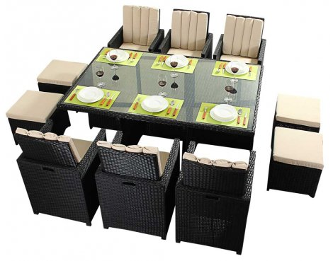 Luxan WGF-319 Port Royal Prestige Black Cube Table & Chairs - Seats 6