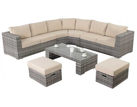 Luxan WGF-403 Port Royal Luxe Rustic Round Corner Sofa
