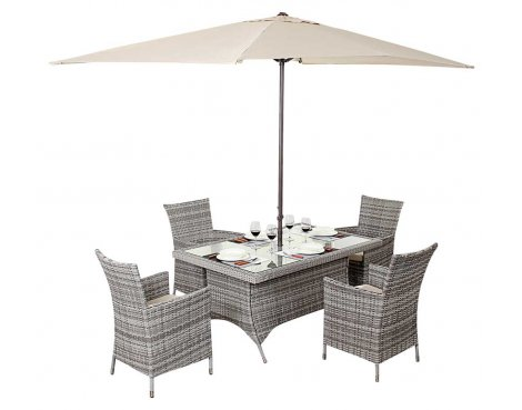 Luxan WGF-410 Port Royal Luxe Rustic Rectangle Dining Set - Seats 4