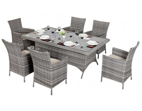 Luxan WGF-412 Port Royal Luxe Rustic Rectangle Dining Set - Seats 6