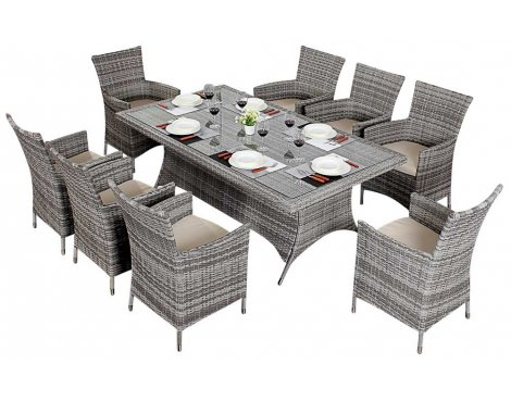 Luxan WGF-413 Port Royal Luxe Rustic Rectangle Dining Set - Seats 8