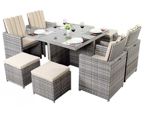 Luxan WGF-418 Port Royal Luxe Rustic Cube Table & Chairs - Seats 4