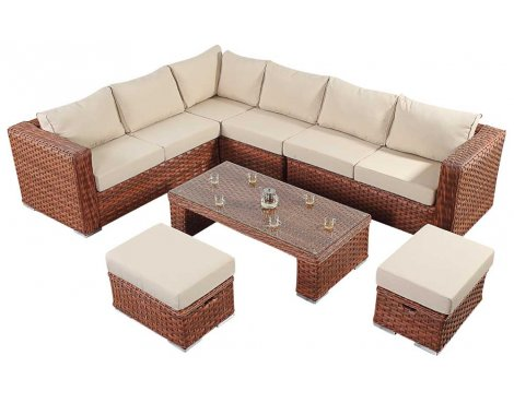 Luxan WGF-702 Port Royal Platinum Brown Large Corner Sofa Set