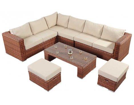 Luxan WGF-702 Port Royal Platinum Brown Large Corner Sofa Set