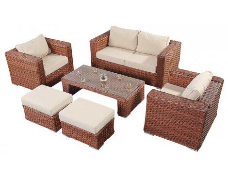 Luxan WGF-705 Port Royal Platinum Brown Small Sofa Set