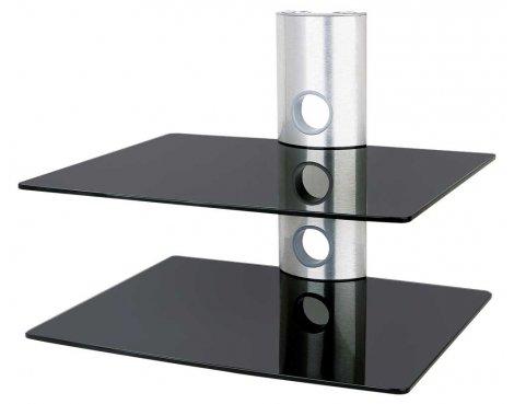 Ultimate Mounts UMS502 Silver & Black Glass Shelving Unit