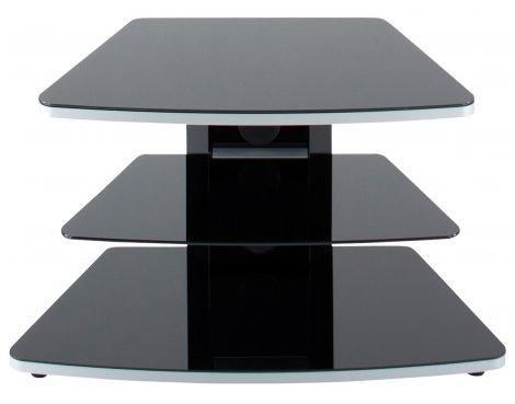 Alphason 3 Shelf Small Black Glass TV Stand