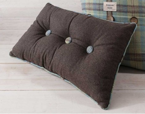 Gallery Button Cushion - Duck Egg
