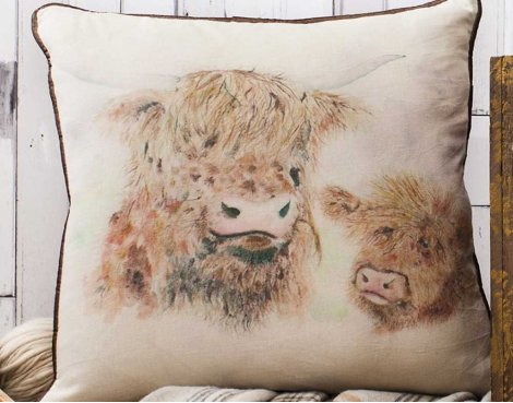 Gallery Highland Cow Cushion - Watercolour