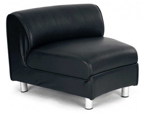 Ultimum Modular Black Leather Concave Reception Unit