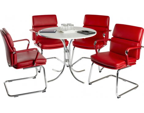 Teknik Deco Meeting Set - Red Chairs - White Table
