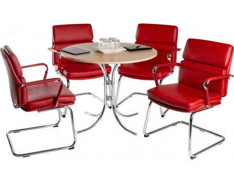 Teknik Deco Meeting Set - Red Chairs - Beech Table