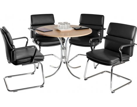 Teknik Deco Meeting Set - Black Chairs - Beech Table