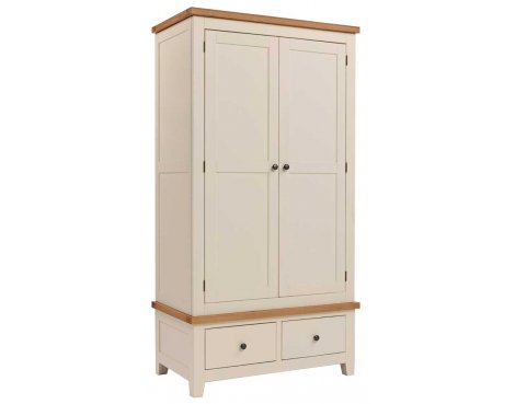 Rustic Grange Aspen Painted Double Wardrobe with 2 Drawers