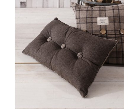 Gallery Button Cushion - Mocha