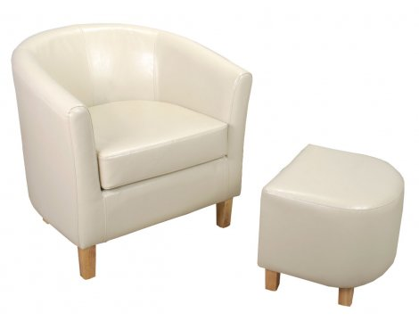 Bonded Leather Tub Chair Set - Ivory