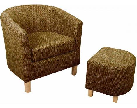 Tweed Tub Chair Set - Brown