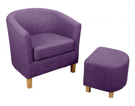 Shankar Linen Effect Tub Chair + Stool Set - Plum