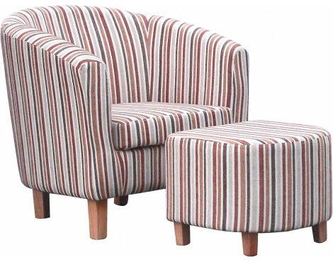 Striped Fabric Tub Chair Set - Antique Gold