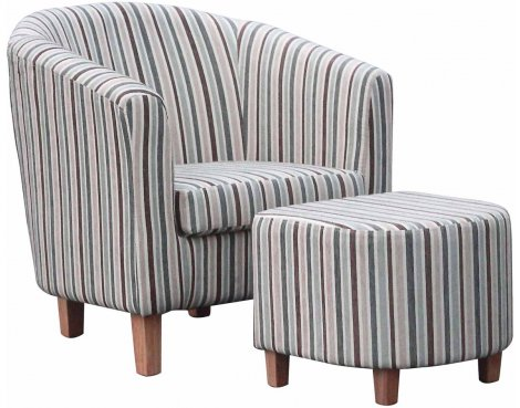 Striped Fabric Tub Chair Set - Duck Egg